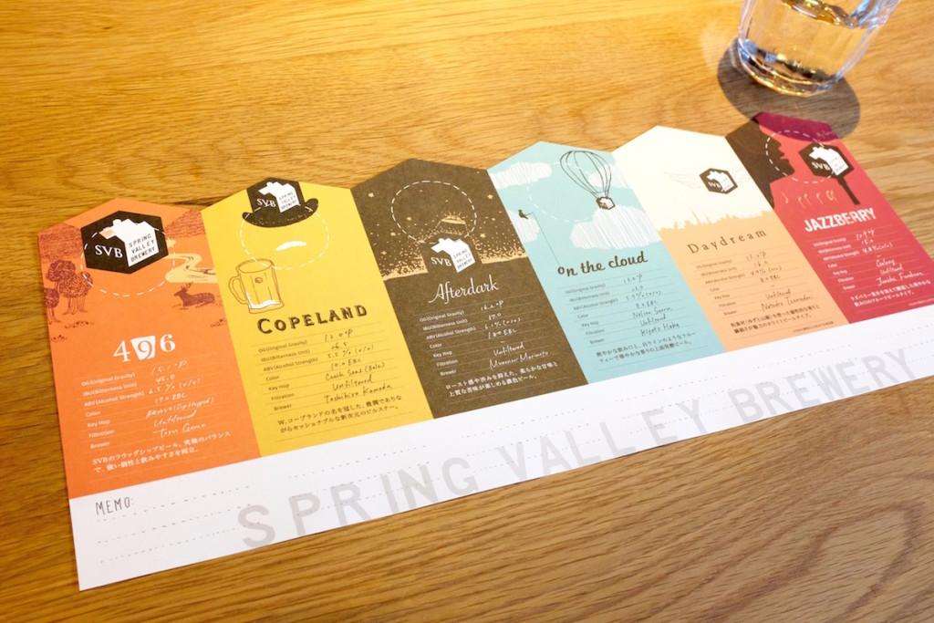 spring valley brewery beer sampler menu